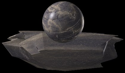 [Picture of stone sphere with carvings: 18K JPEG]